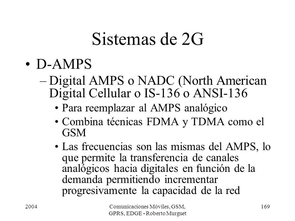 2004Comunicaciones Móviles, GSM, GPRS, EDGE - Roberto Murguet 169 D-AMPS –Digital AMPS o NADC (North American Digital Cellular o IS-136 o ANSI-136 Par