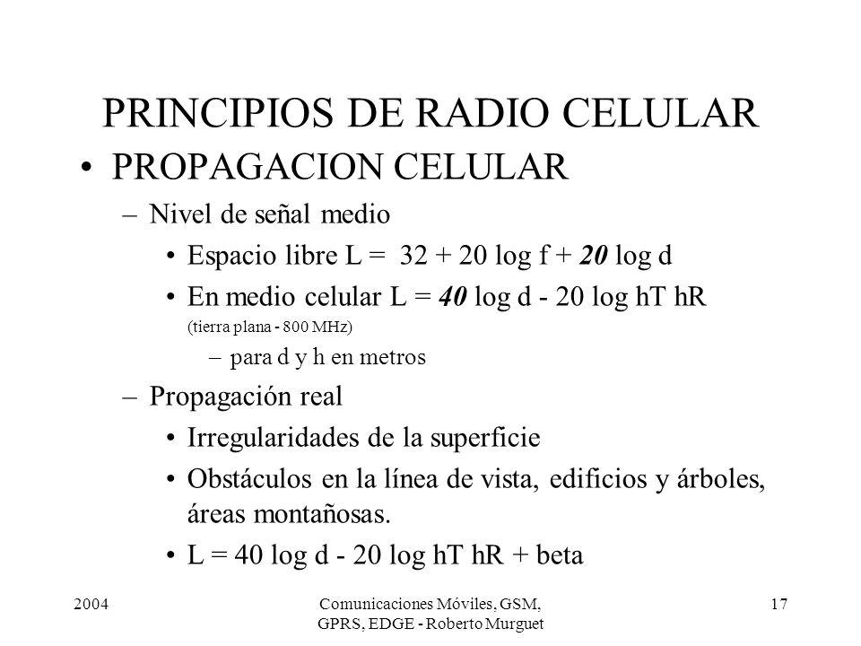 2004Comunicaciones Móviles, GSM, GPRS, EDGE - Roberto Murguet 17 PRINCIPIOS DE RADIO CELULAR PROPAGACION CELULAR –Nivel de señal medio Espacio libre L