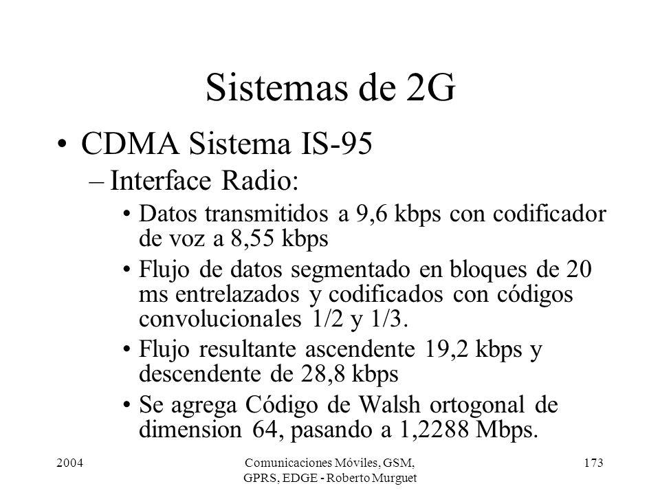 2004Comunicaciones Móviles, GSM, GPRS, EDGE - Roberto Murguet 173 CDMA Sistema IS-95 –Interface Radio: Datos transmitidos a 9,6 kbps con codificador d
