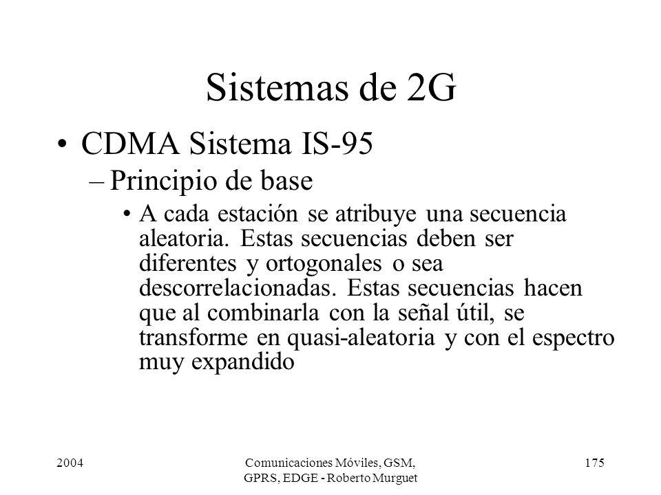 2004Comunicaciones Móviles, GSM, GPRS, EDGE - Roberto Murguet 175 CDMA Sistema IS-95 –Principio de base A cada estación se atribuye una secuencia alea