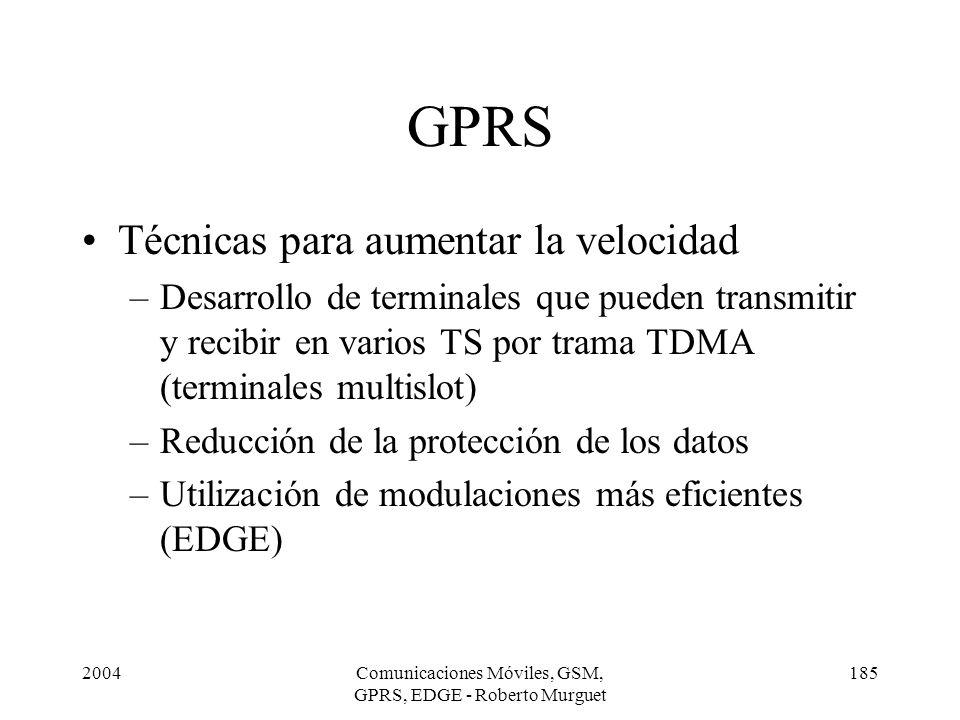 2004Comunicaciones Móviles, GSM, GPRS, EDGE - Roberto Murguet 185 GPRS Técnicas para aumentar la velocidad –Desarrollo de terminales que pueden transm