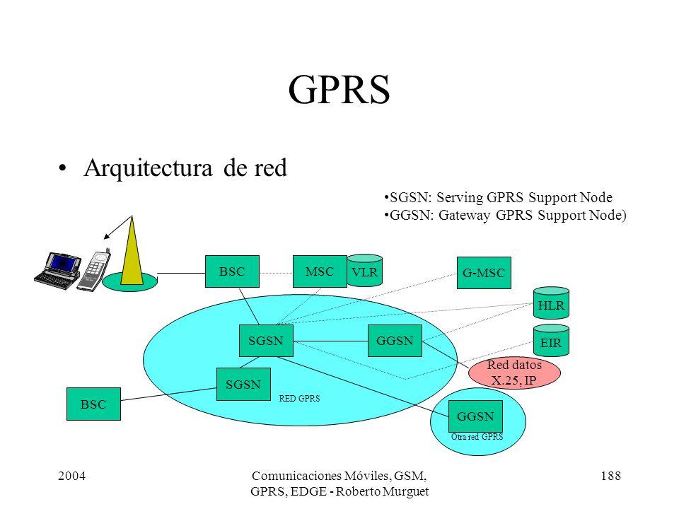 2004Comunicaciones Móviles, GSM, GPRS, EDGE - Roberto Murguet 188 Otra red GPRS RED GPRS GPRS Arquitectura de red BSC SGSN G-MSC MSC GGSN SGSN GGSN VL