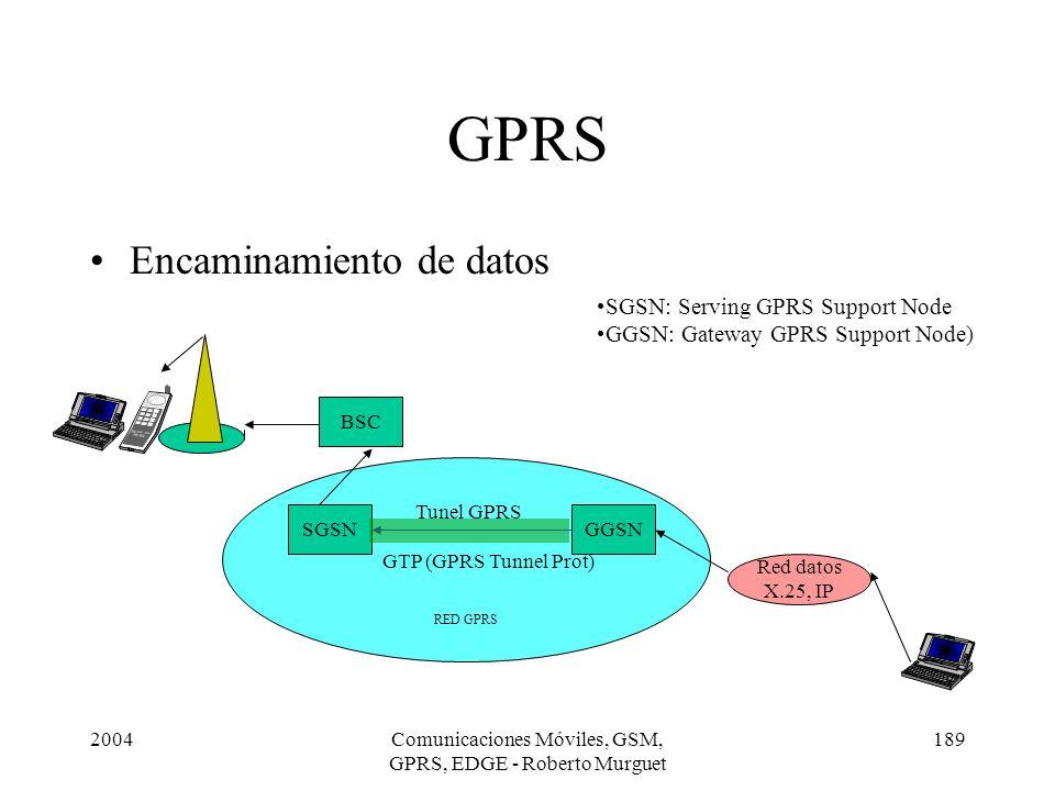 2004Comunicaciones Móviles, GSM, GPRS, EDGE - Roberto Murguet 189 RED GPRS GPRS Encaminamiento de datos BSC SGSNGGSN Red datos X.25, IP SGSN: Serving