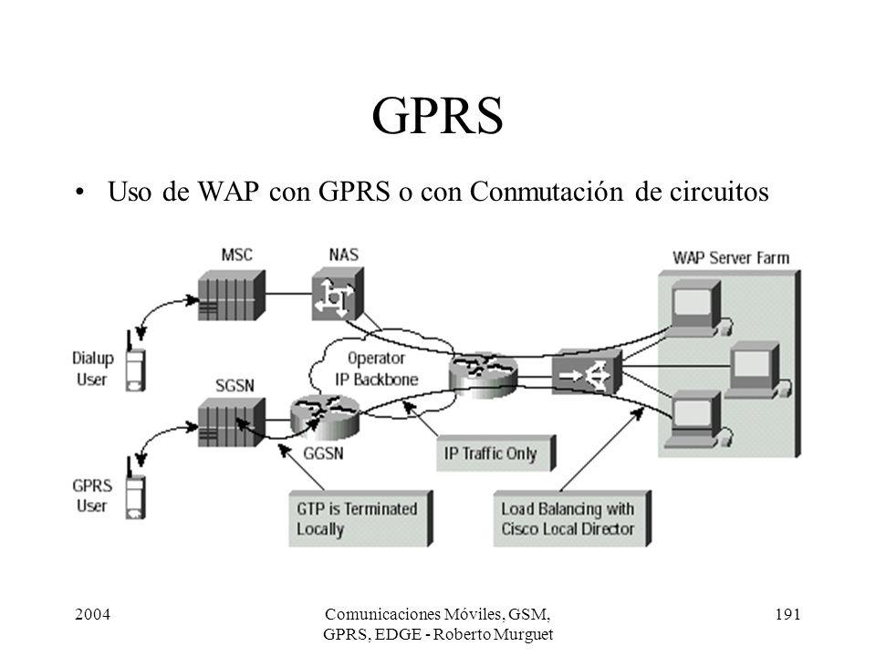 2004Comunicaciones Móviles, GSM, GPRS, EDGE - Roberto Murguet 191 GPRS Uso de WAP con GPRS o con Conmutación de circuitos