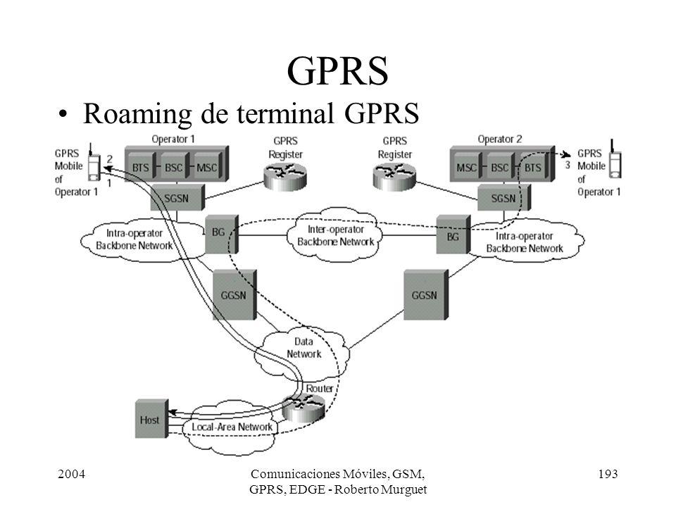 2004Comunicaciones Móviles, GSM, GPRS, EDGE - Roberto Murguet 193 GPRS Roaming de terminal GPRS