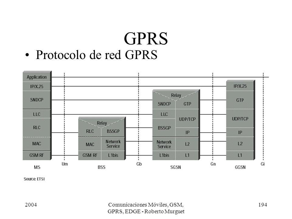 2004Comunicaciones Móviles, GSM, GPRS, EDGE - Roberto Murguet 194 GPRS Protocolo de red GPRS