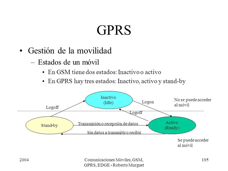 2004Comunicaciones Móviles, GSM, GPRS, EDGE - Roberto Murguet 195 GPRS Gestión de la movilidad –Estados de un móvil En GSM tiene dos estados: Inactivo