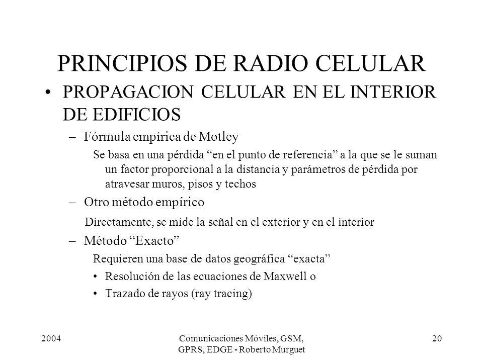 2004Comunicaciones Móviles, GSM, GPRS, EDGE - Roberto Murguet 20 PRINCIPIOS DE RADIO CELULAR PROPAGACION CELULAR EN EL INTERIOR DE EDIFICIOS –Fórmula