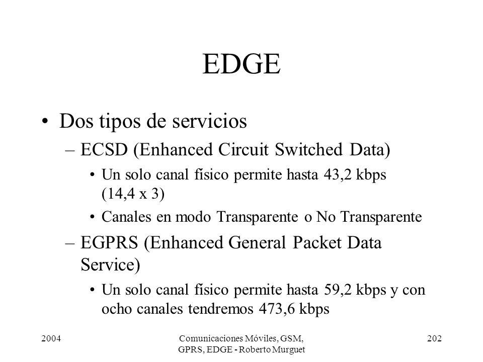 2004Comunicaciones Móviles, GSM, GPRS, EDGE - Roberto Murguet 202 EDGE Dos tipos de servicios –ECSD (Enhanced Circuit Switched Data) Un solo canal fís