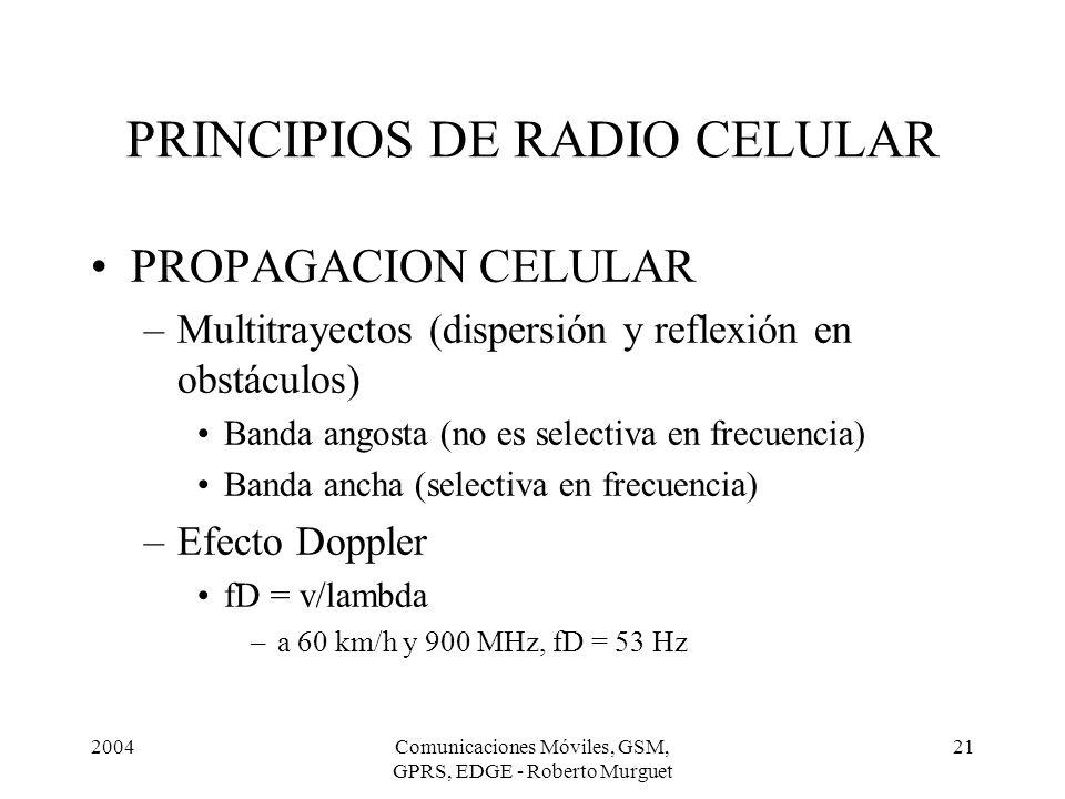 2004Comunicaciones Móviles, GSM, GPRS, EDGE - Roberto Murguet 21 PRINCIPIOS DE RADIO CELULAR PROPAGACION CELULAR –Multitrayectos (dispersión y reflexi