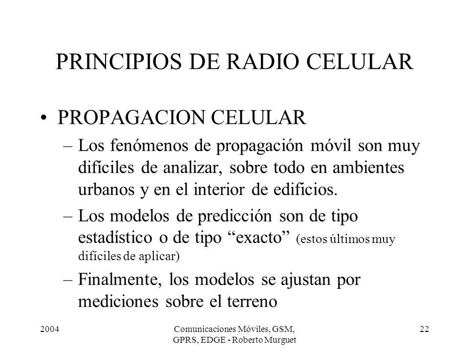 2004Comunicaciones Móviles, GSM, GPRS, EDGE - Roberto Murguet 22 PRINCIPIOS DE RADIO CELULAR PROPAGACION CELULAR –Los fenómenos de propagación móvil s