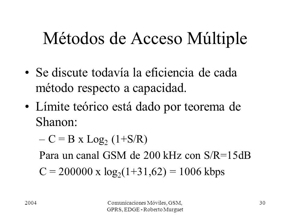 2004Comunicaciones Móviles, GSM, GPRS, EDGE - Roberto Murguet 30 Métodos de Acceso Múltiple Se discute todavía la eficiencia de cada método respecto a