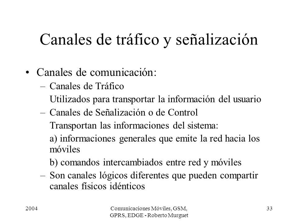 2004Comunicaciones Móviles, GSM, GPRS, EDGE - Roberto Murguet 33 Canales de tráfico y señalización Canales de comunicación: –Canales de Tráfico Utiliz