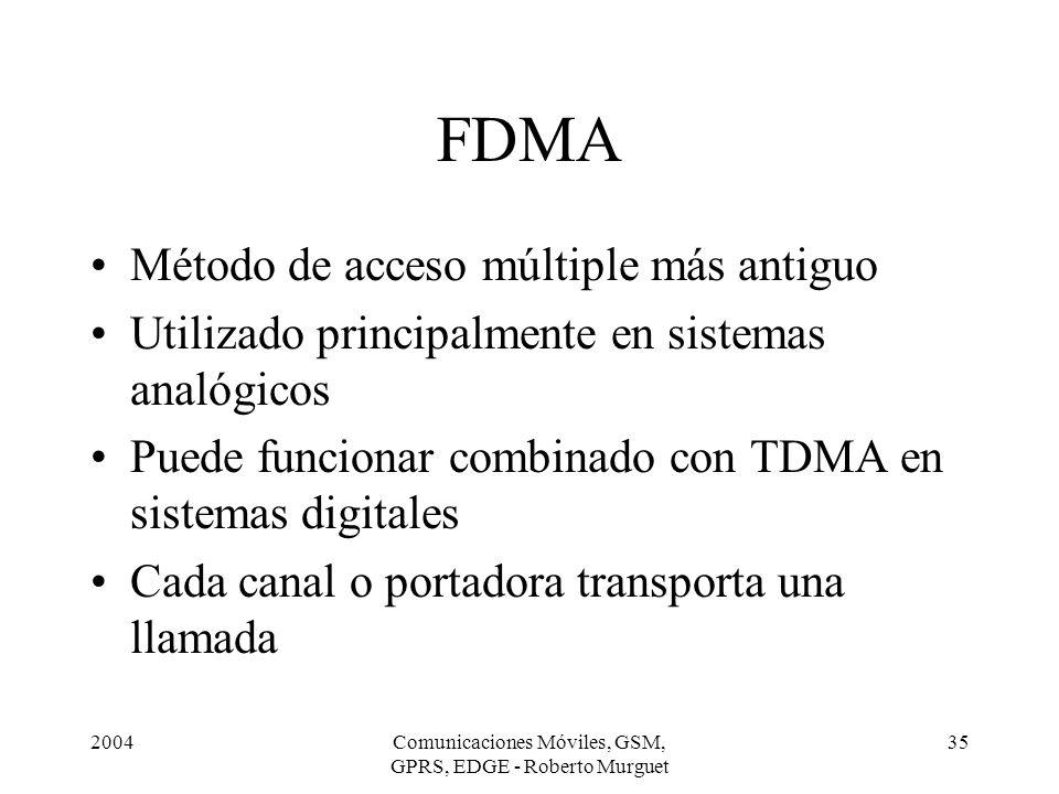 2004Comunicaciones Móviles, GSM, GPRS, EDGE - Roberto Murguet 35 FDMA Método de acceso múltiple más antiguo Utilizado principalmente en sistemas analó