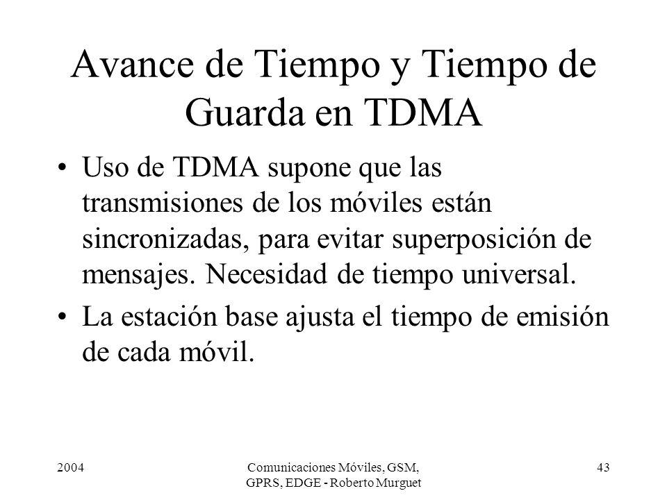 2004Comunicaciones Móviles, GSM, GPRS, EDGE - Roberto Murguet 43 Avance de Tiempo y Tiempo de Guarda en TDMA Uso de TDMA supone que las transmisiones