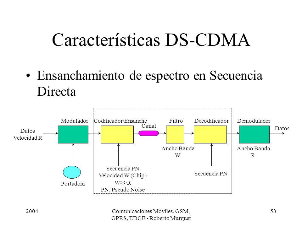 2004Comunicaciones Móviles, GSM, GPRS, EDGE - Roberto Murguet 53 Características DS-CDMA Ensanchamiento de espectro en Secuencia Directa Portadora Mod