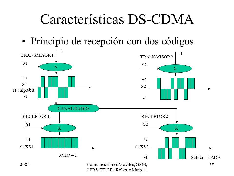 2004Comunicaciones Móviles, GSM, GPRS, EDGE - Roberto Murguet 59 Principio de recepción con dos códigos Características DS-CDMA X 1 S1 +1 X Salida = 1