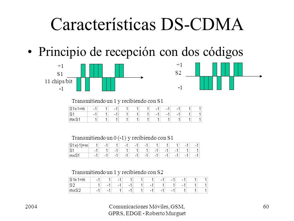 2004Comunicaciones Móviles, GSM, GPRS, EDGE - Roberto Murguet 60 Principio de recepción con dos códigos Características DS-CDMA +1 S1 11 chips/bit Tra