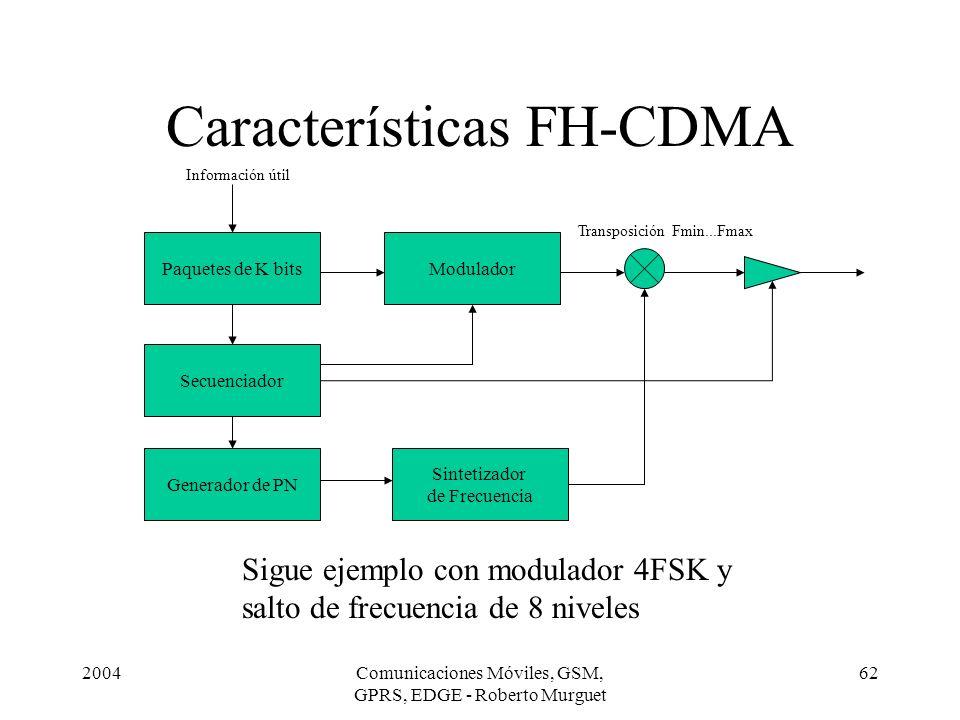 2004Comunicaciones Móviles, GSM, GPRS, EDGE - Roberto Murguet 62 Características FH-CDMA Paquetes de K bits Sintetizador de Frecuencia Generador de PN