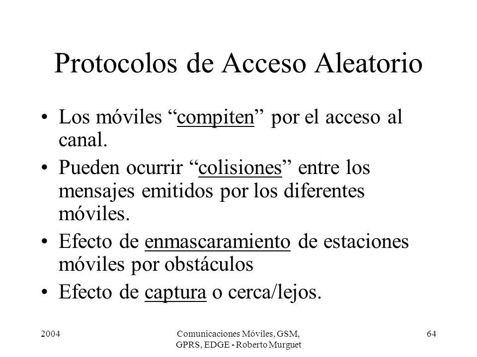 2004Comunicaciones Móviles, GSM, GPRS, EDGE - Roberto Murguet 64 Protocolos de Acceso Aleatorio Los móviles compiten por el acceso al canal. Pueden oc