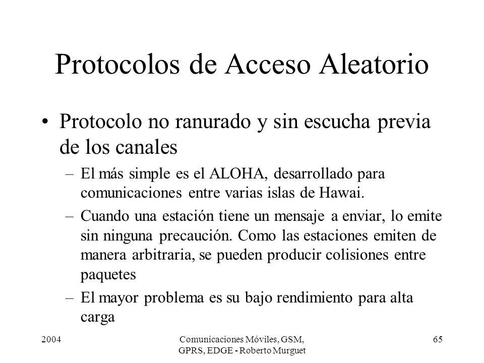2004Comunicaciones Móviles, GSM, GPRS, EDGE - Roberto Murguet 65 Protocolos de Acceso Aleatorio Protocolo no ranurado y sin escucha previa de los cana