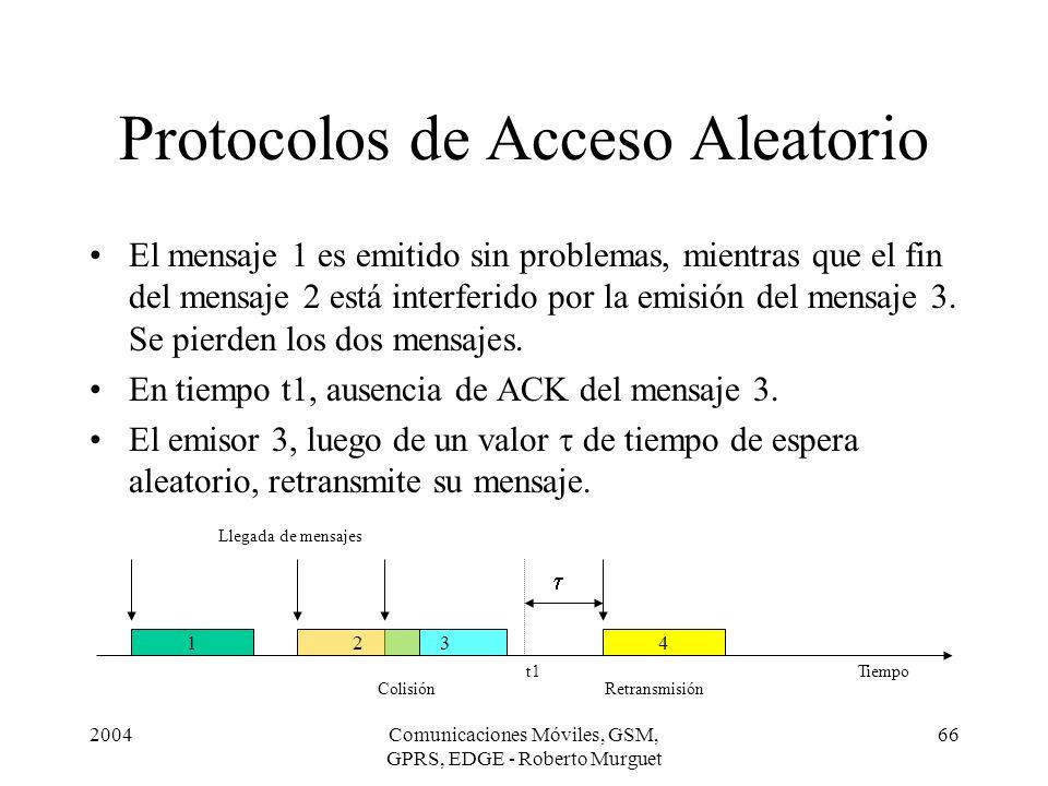 2004Comunicaciones Móviles, GSM, GPRS, EDGE - Roberto Murguet 66 Protocolos de Acceso Aleatorio El mensaje 1 es emitido sin problemas, mientras que el