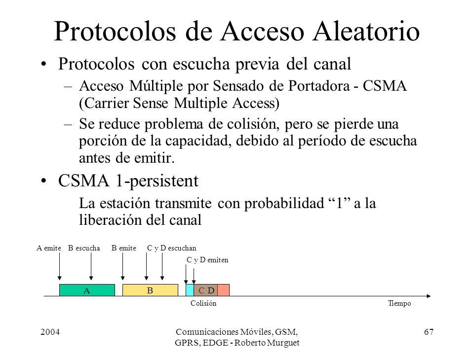 2004Comunicaciones Móviles, GSM, GPRS, EDGE - Roberto Murguet 67 Protocolos de Acceso Aleatorio ACBD A emite ColisiónTiempo Protocolos con escucha pre