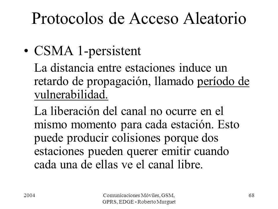2004Comunicaciones Móviles, GSM, GPRS, EDGE - Roberto Murguet 68 Protocolos de Acceso Aleatorio CSMA 1-persistent La distancia entre estaciones induce