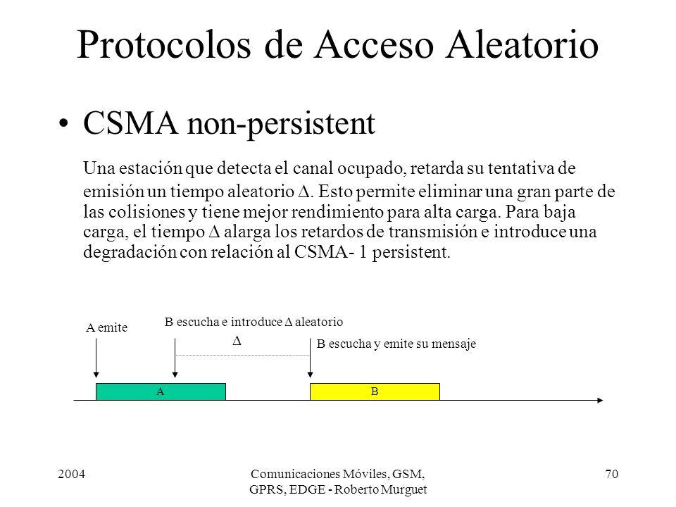 2004Comunicaciones Móviles, GSM, GPRS, EDGE - Roberto Murguet 70 Protocolos de Acceso Aleatorio CSMA non-persistent Una estación que detecta el canal