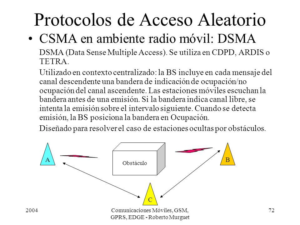 2004Comunicaciones Móviles, GSM, GPRS, EDGE - Roberto Murguet 72 Protocolos de Acceso Aleatorio CSMA en ambiente radio móvil: DSMA DSMA (Data Sense Mu
