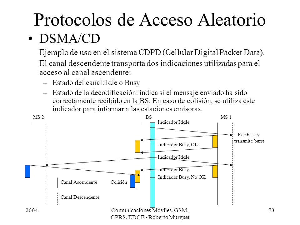 2004Comunicaciones Móviles, GSM, GPRS, EDGE - Roberto Murguet 73 Protocolos de Acceso Aleatorio DSMA/CD Ejemplo de uso en el sistema CDPD (Cellular Di