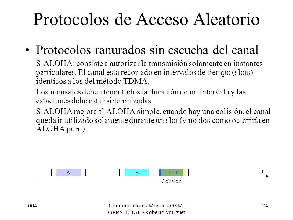 2004Comunicaciones Móviles, GSM, GPRS, EDGE - Roberto Murguet 74 Protocolos de Acceso Aleatorio Protocolos ranurados sin escucha del canal S-ALOHA: co