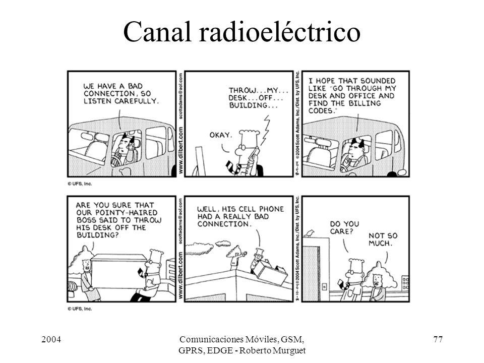 2004Comunicaciones Móviles, GSM, GPRS, EDGE - Roberto Murguet 77 Canal radioeléctrico