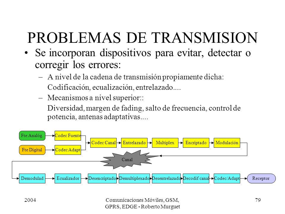 2004Comunicaciones Móviles, GSM, GPRS, EDGE - Roberto Murguet 79 PROBLEMAS DE TRANSMISION Se incorporan dispositivos para evitar, detectar o corregir