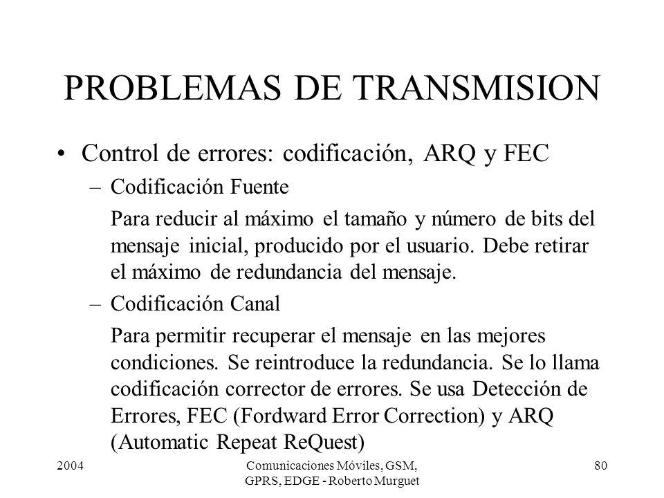 2004Comunicaciones Móviles, GSM, GPRS, EDGE - Roberto Murguet 80 PROBLEMAS DE TRANSMISION Control de errores: codificación, ARQ y FEC –Codificación Fu