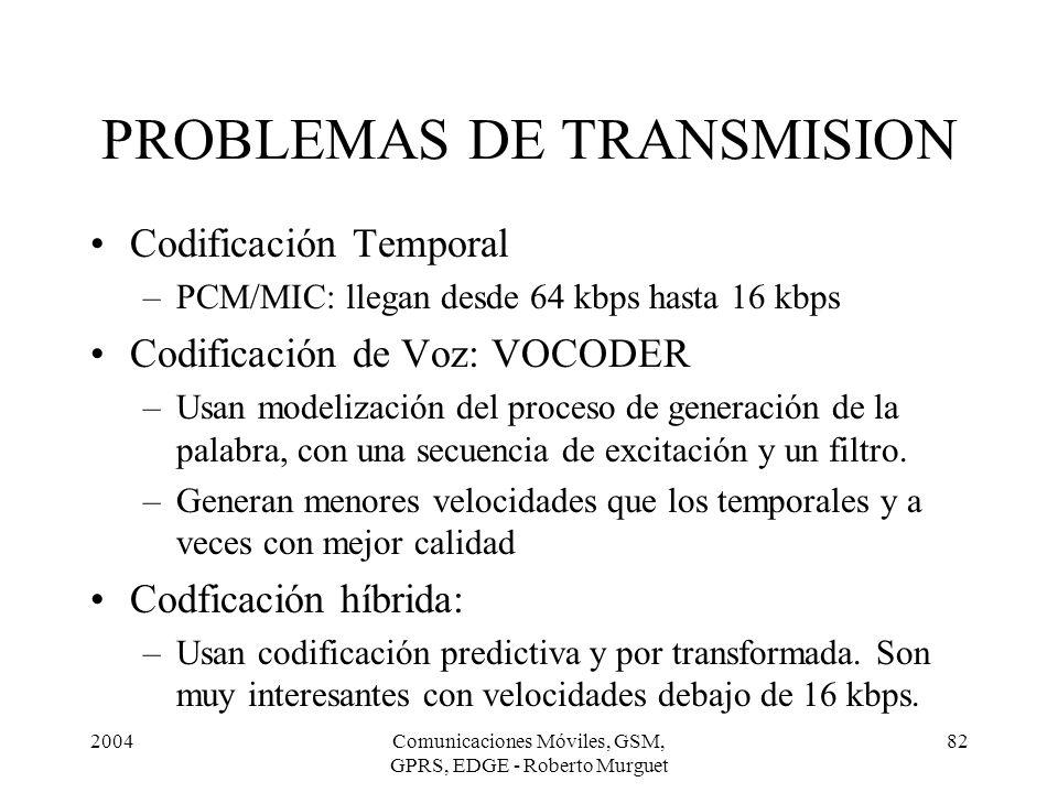 2004Comunicaciones Móviles, GSM, GPRS, EDGE - Roberto Murguet 82 Codificación Temporal –PCM/MIC: llegan desde 64 kbps hasta 16 kbps Codificación de Vo