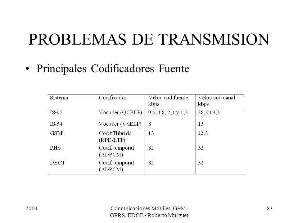 2004Comunicaciones Móviles, GSM, GPRS, EDGE - Roberto Murguet 83 Principales Codificadores Fuente PROBLEMAS DE TRANSMISION