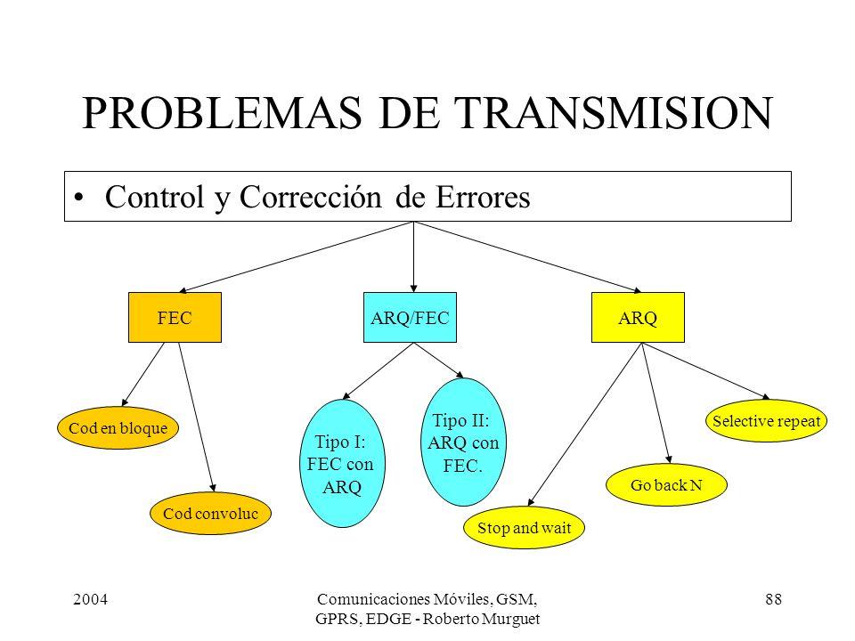 2004Comunicaciones Móviles, GSM, GPRS, EDGE - Roberto Murguet 88 Control y Corrección de Errores PROBLEMAS DE TRANSMISION FECARQ/FECARQ Cod en bloque