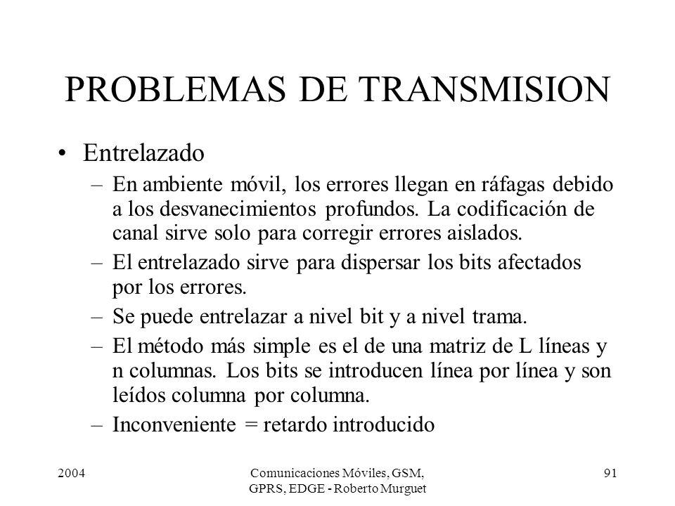 2004Comunicaciones Móviles, GSM, GPRS, EDGE - Roberto Murguet 91 Entrelazado –En ambiente móvil, los errores llegan en ráfagas debido a los desvanecim