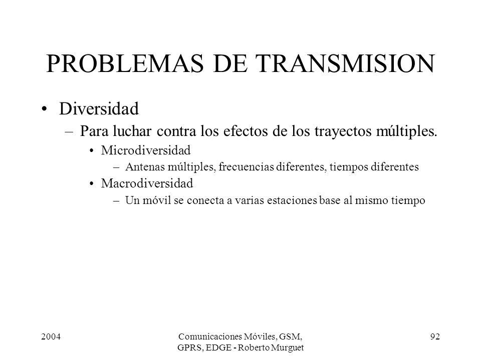 2004Comunicaciones Móviles, GSM, GPRS, EDGE - Roberto Murguet 92 Diversidad –Para luchar contra los efectos de los trayectos múltiples. Microdiversida