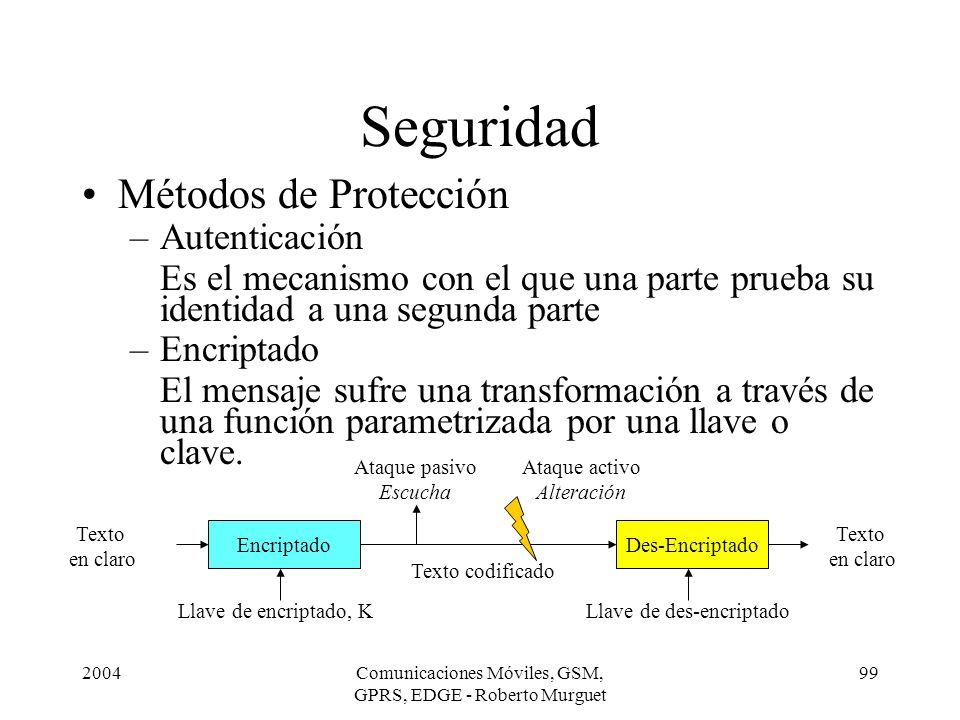 2004Comunicaciones Móviles, GSM, GPRS, EDGE - Roberto Murguet 99 Seguridad Métodos de Protección –Autenticación Es el mecanismo con el que una parte p