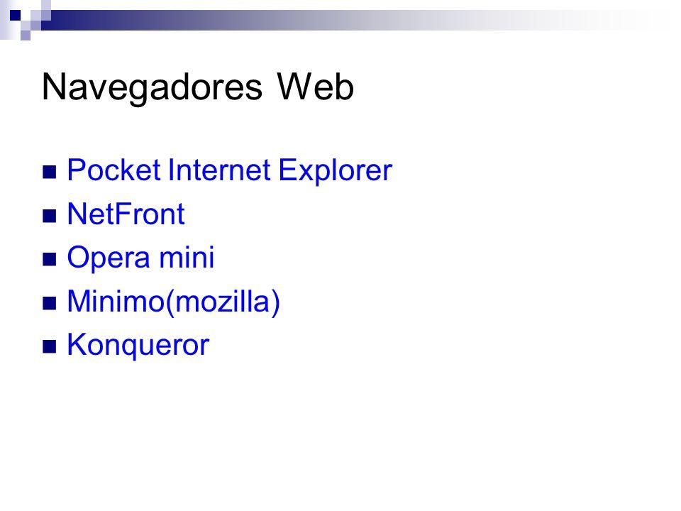Navegadores Web Pocket Internet Explorer NetFront Opera mini Minimo(mozilla) Konqueror