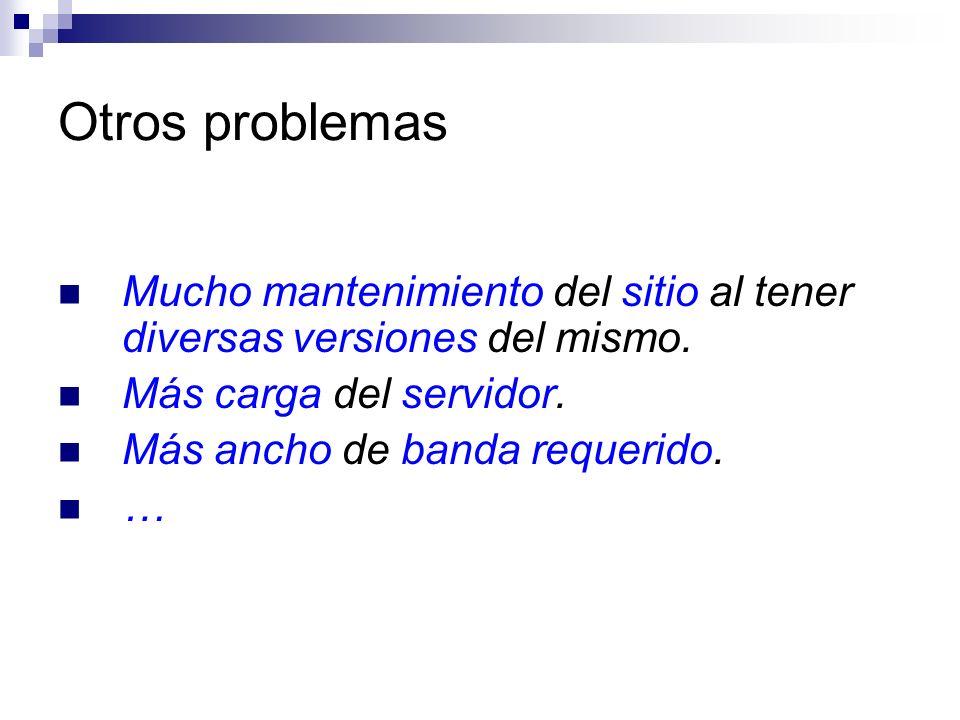 Otros problemas Mucho mantenimiento del sitio al tener diversas versiones del mismo. Más carga del servidor. Más ancho de banda requerido. …