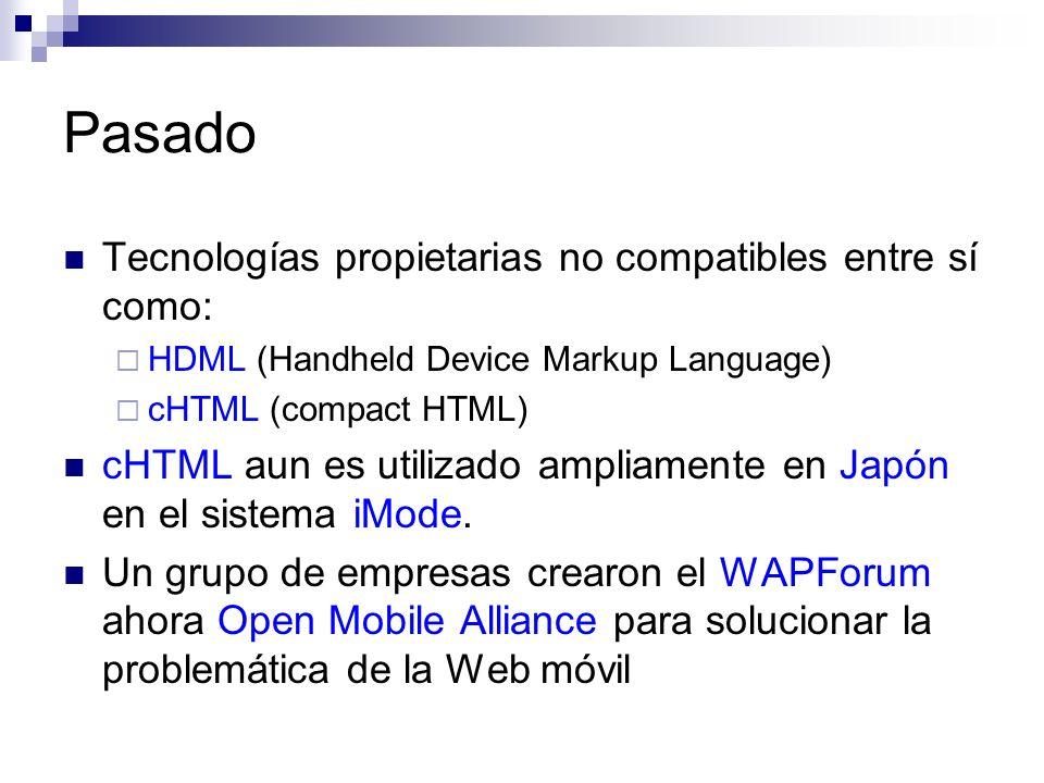 Pasado Tecnologías propietarias no compatibles entre sí como: HDML (Handheld Device Markup Language) cHTML (compact HTML) cHTML aun es utilizado ampli