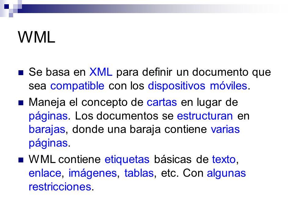 WML Se basa en XML para definir un documento que sea compatible con los dispositivos móviles. Maneja el concepto de cartas en lugar de páginas. Los do