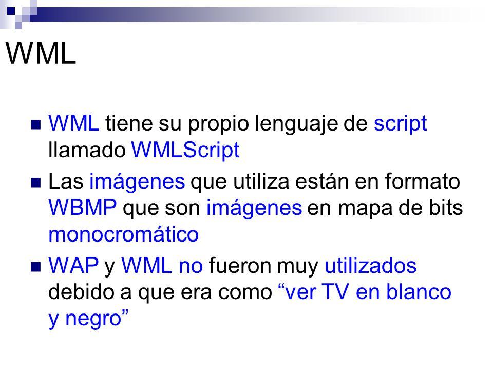 WML WML tiene su propio lenguaje de script llamado WMLScript Las imágenes que utiliza están en formato WBMP que son imágenes en mapa de bits monocromá