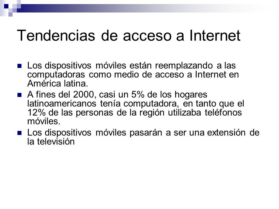 Tendencias de acceso a Internet Los dispositivos móviles están reemplazando a las computadoras como medio de acceso a Internet en América latina. A fi