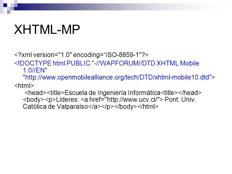 XHTML-MP Escuela de Ingeniería Informática Líderes: Pont. Univ. Católica de Valparaíso