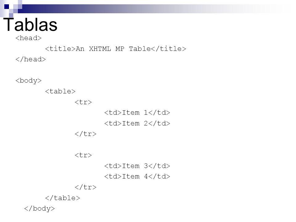 Tablas An XHTML MP Table Item 1 Item 2 Item 3 Item 4