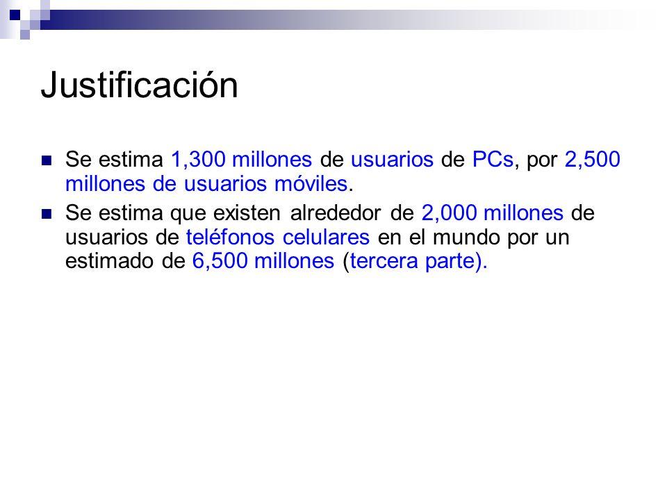 Justificación Se estima 1,300 millones de usuarios de PCs, por 2,500 millones de usuarios móviles. Se estima que existen alrededor de 2,000 millones d
